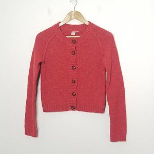 twik | Red Knit Button Front Cardigan Sweater Top